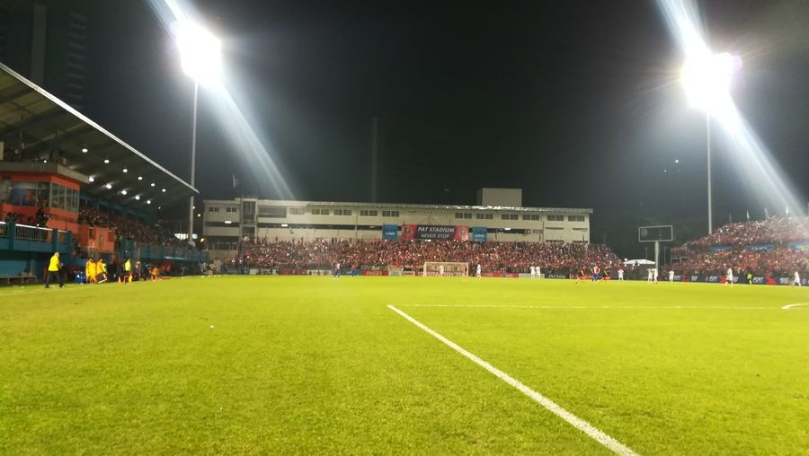 View of soccer field at night