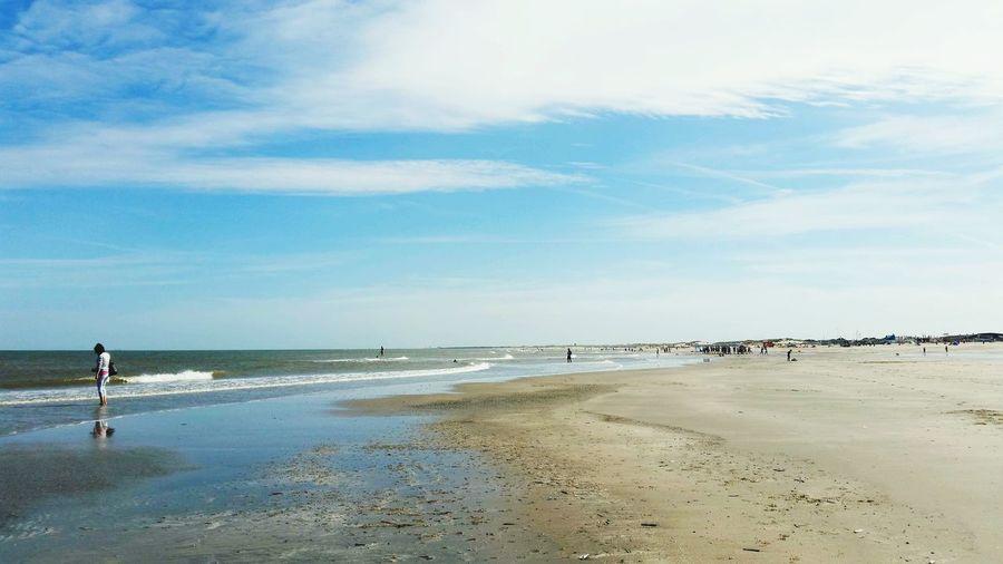 Water Sea Beach Low Tide Sand Sky Horizon Over Water Landscape Cloud - Sky