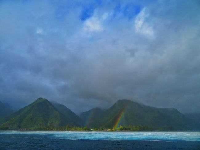 Mountain Water Lake Sky Landscape Cloud - Sky Double Rainbow Mountain Range Mountain Road Tranquil Scene Island Volcano