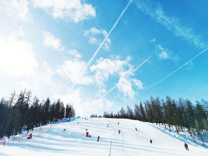 Ski slope under a blue sky Tree Snow Cold Temperature Sport Winter Blue Sportsman Winter Sport Ice Rink Ski Lift Ski Resort  Ski Track Skiing Snowboarding Ski Slope