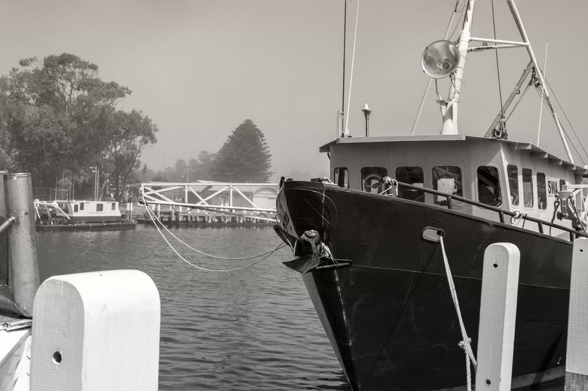 Black and white version of the Port Fairy Marina, Victoria, Boating Harbour view black and white black and white collection black and white photography blacknwhite blackwhite boat bw_collection bwphotography eyeemblack&white fishing boat harbours BW_photography Boating Harbour View Black And White Black And White Collection  Black And White Photography Blacknwhite Blackwhite Boat Bw_collection Bwphotography Eyeemblack&white Fishing Boat Harbourside Mast Monochrome Moored Nautical Vessel No People Outdoors Rope Sailing Travel Water