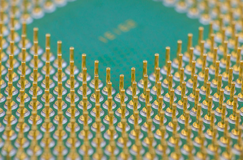Macro CPU Close-up Electronic Micro Pattern Processing Processor Socket Unit