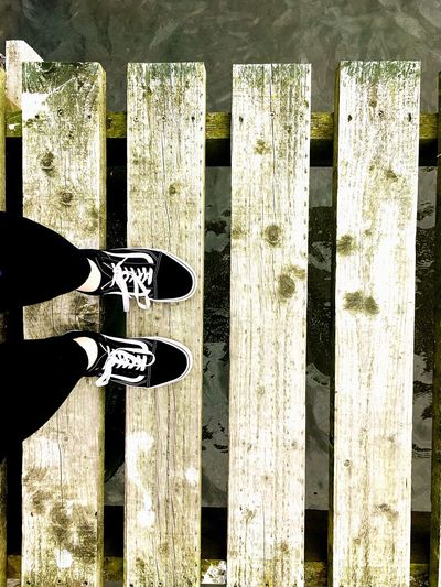 Beach Low Section Person Shoe Fence Outdoors Bridge Scotland England Vans Shoes First Eyeem Photo