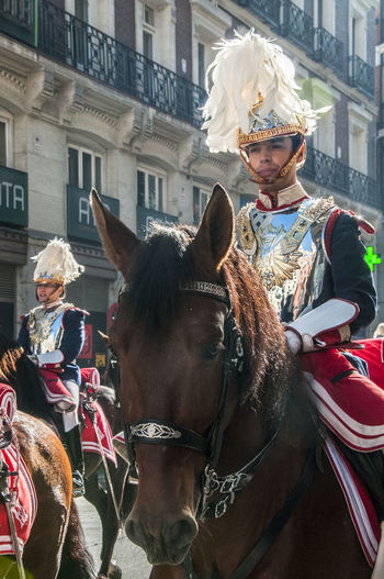 Half view of a mounted cavalery soldier in full ceremonial uniform. Adult Cavalry Cavalry Soldier Ceremony Close-up Day Domestic Animals Editorial  Headshot Helmet Horse Horse Riding Mammal Men One Animal Travel Uniform