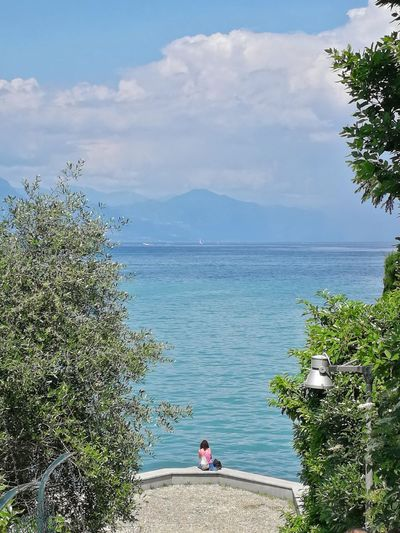 Italy Lombardy Garda Lake Garda Lake View View From Above Vacations Travel Destinations Tree Tranquility Travel Tourism Woman Girl Coast Coastline Mountain Horizon Over Water Tree Water Sea Beach Blue Sand Relaxation Water's Edge Hiker Lush - Description Evergreen Tree