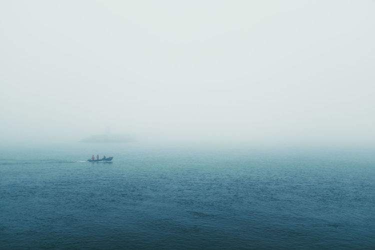 The Sea Threeweeksgalicia Sea Water Nature Sky Outdoors Nautical Vessel Mode Of Transportation Fog Beauty In Nature Scenics - Nature Tranquility Transportation Tranquil Scene Waterfront Horizon Over Water Day Copy Space Horizon Travel No People Sailboat