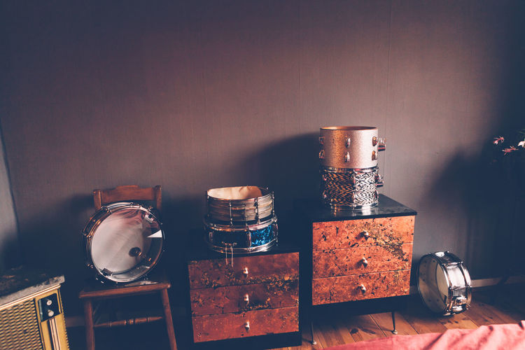 Peaces of a drum in a vintage room