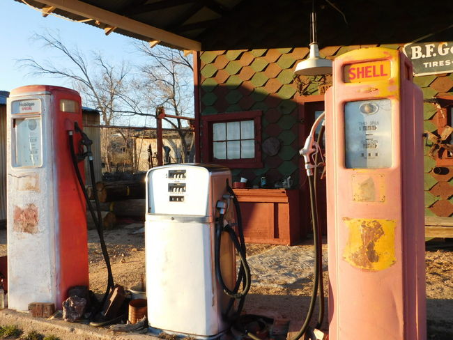 Abandoned Chloride Arizona Composition Day Deterioration Equipment Ghost Town No People Old Gas Pumps Old-fashioned Red Side By Side Southwest