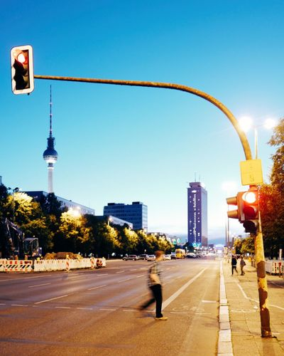 City street against blue sky