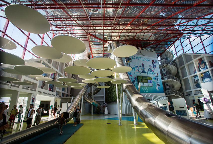 Futuroscope Theme Park Futuroscope Theme Park | Poitiers - France Futuroscope2017 Leisure Park Architecture Built Structure Ceiling Day Indoors  Large Group Of People Low Angle View Men Modern People Real People