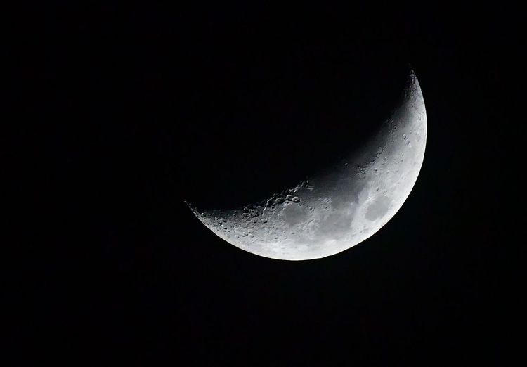 Nikon D500+ sigma 60-600mm hand hold Astronomy Space Night Moon Sky Moon Surface Planetary Moon Beauty In Nature Tranquility Copy Space Half Moon Nature Scenics - Nature Tranquil Scene No People Low Angle View Crescent Outdoors Astrology Dark Space And Astronomy Majestic Clear Sky Moonlight Eclipse
