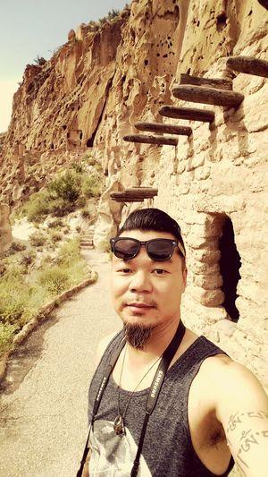 Summer Views Hike Nationalpark Nativeamerican  Exploring Pueblo Nature Los Alamos New Mexico Selfie