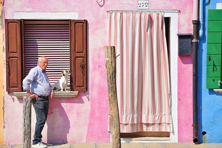 Dog Animal Themes Travel Photography Scenics Nikon Tranquility OpenEdit Travel Destinations Italy Italy❤️ Italia Burano Burano, Italy Springtime Pink Color Men Architecture