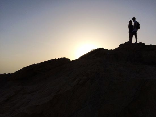 Schattenriss vor Sonnenuntergang Ile Rousse Korsika Silhouette Hiking Real People Sunset Adventure Leisure Activity Men