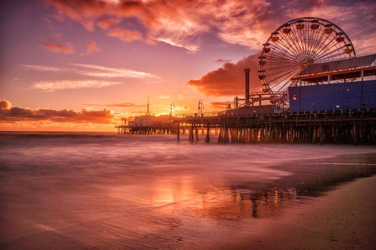 Ferris Wheel On Santa Monica Pier At Sunset