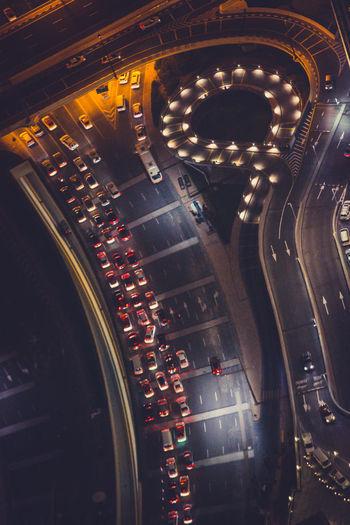 Aerial view of illuminated road