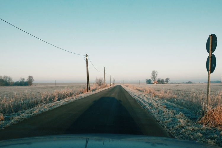 Frosty Morning Outdoors Sunrise Asphalt Hinterm Deich Nordseeküste Light And Shadow VSCO Landscape