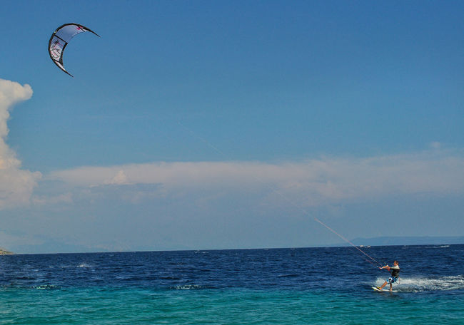 Beauty In Nature Clear Sky Cloud Cloud - Sky Croatia Day Extreme Sports Horizon Over Water Kite Kiteboarding Kitesurfing Leisure Activity Men Nature One Person Outdoors Parachute People Real People Sea Sky Sport Water Waterfront Zlatni Rat