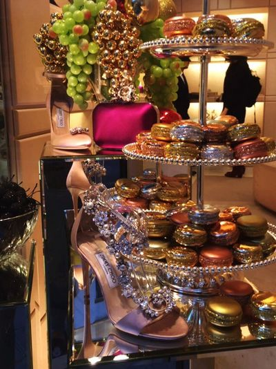 Paris Jimmychoo Paillettes France Luxury Macarons Pink Gold Colored Silver  Bag