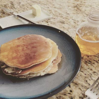 Sunday Morning apple strudel pancakes made by my multi-talented husband. Blessed  RainyDay Apples