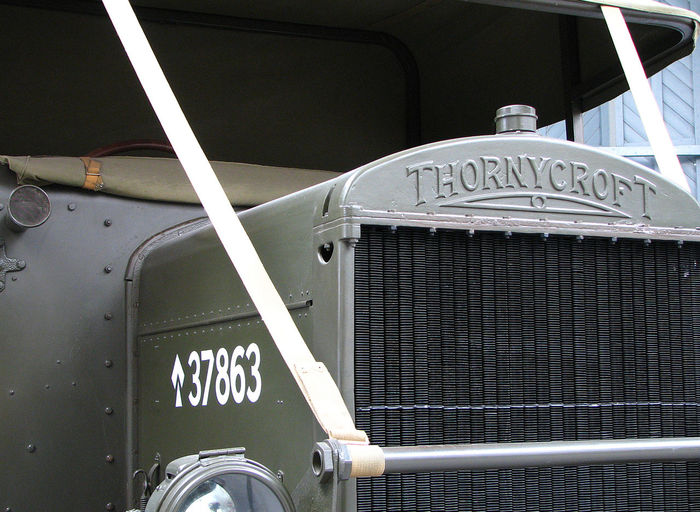 A Thornycroft military transport vehicle in the Duxford air museum - England Duxford Imperial War Museum Thornycroft Lorry Car Close-up Communication Day Land Vehicle Mode Of Transport No People Outdoors Text Transportation