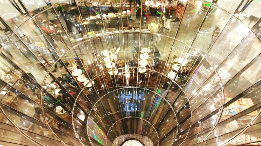 High angle view of illuminated shopping mall