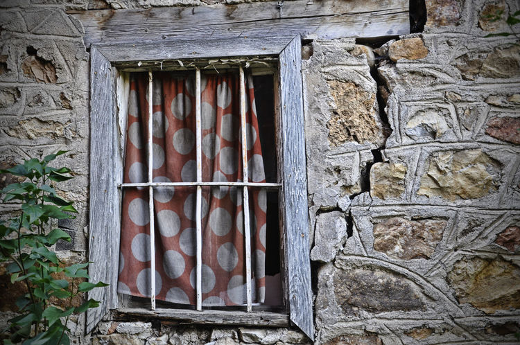 Old house Built Structure No People Building Exterior Architecture Bad Condition Outdoors Close-up Window Curtains Can Be Beautiful Colorful