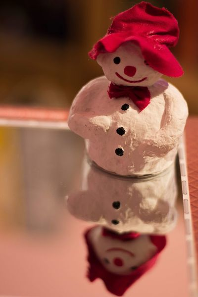 Mirror Picture Mirror Cute Wormth Feeling Snowman Snowman⛄ Close-up Indoors  Focus On Foreground Still Life No People Celebration Christmas