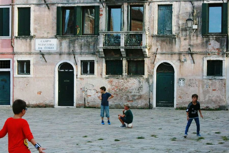Boys Child People Architecture Outdoors Children Only Italy Boy Running Venice, Italy Football Game Playing Kids