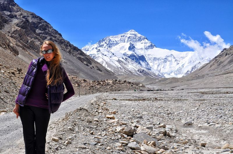 Woman in vacations in tibet