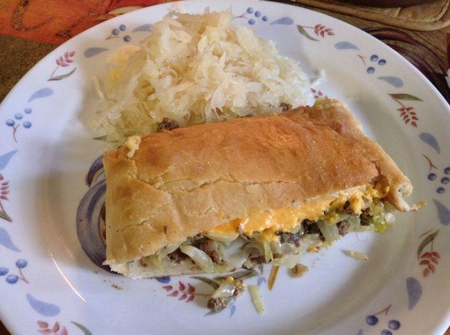 Enjoying A Meal Bierok Cabbage Pillow oh yeah.... Sauerkraut