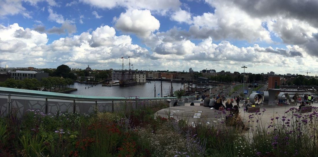 Amsterdam view from terrace of the Nemo Museum Sky Cloud - Sky Outdoors Built Structure Water Building Exterior Architecture Nautical Vessel Day Panoramic Landscape Landscape_Collection My Year My View Your Ticket To Europe
