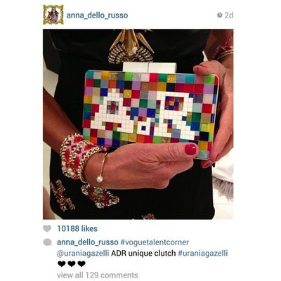 @anna_dello_russo posted two days ago in the opening of Vogue Talents at Palazzo Morando her fully customized new model for SS14 with her initials AdR!! So excited for the 10K that our bag took! WOW! Thank you Anna for your love and support!! ?❤? ADR Uraniagazelli Voguetalents Palazzomorando ss14 vfno2013 pixelizeme pixel handmade