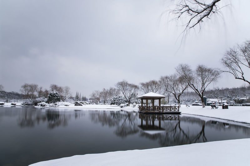 the forest park in the winter Architecture Bare Tree Beauty In Nature Built Structure Cold Temperature Day Frozen Lake Nature No People Outdoors Scenics Sky Snow Tree Water Weather Winter