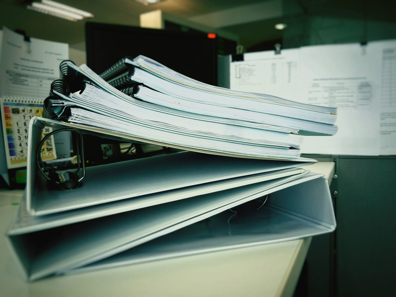 Stack Of Files On Table At Office