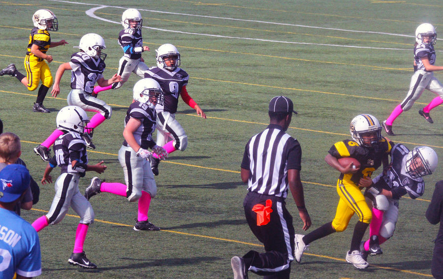 Junior Football at Minoru Park Richmond B.C Canada. Sport Sports Clothing Competition Sportsman Outdoors Athlete Sports Team Challenge Activity Football Helmet Richmond BC, Canada Junior Football Running Competitive Sport