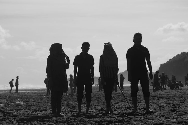 Monochrome Photography Men Lifestyles Leisure Activity Standing Sky Nature Outdoors Person Tranquility Vacations Remote Scenics Cloud - Sky Tranquil Scene Beauty In Nature Beach Gunung Kidul, Yogyakarta Indonesia_photography INDONESIA