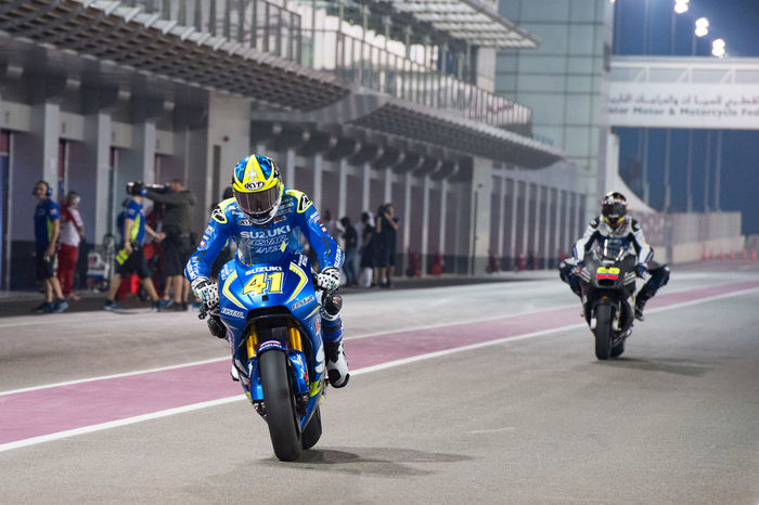 MotoGP riders during the final preseason test before the start of the 2016 MotoGP season AleixEspargaro Losail LosailCircuit Motogp MotoGP2016 Motorcycle Motorsports Preseason Qatar Race Racing Test