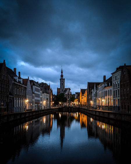 Brooding Bruges. Canal Moody Sky Blue Hour City Cityscape Water Illuminated Urban Skyline Bridge - Man Made Structure River Reflection Sunset Place Of Worship Church Cathedral