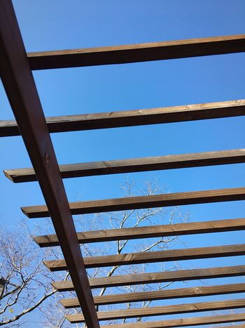 Clear Sky Blue Low Angle View Built Structure No People Metal Architecture Day Sky Outdoors Bridge - Man Made Structure Nature