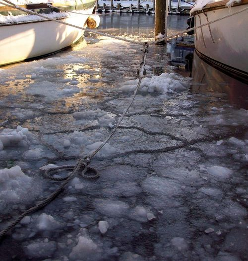 Boat Lines Water Sailboat Sail Winter Ice Annapolis Maryland Ego Alley Rope Dock Hull Cold