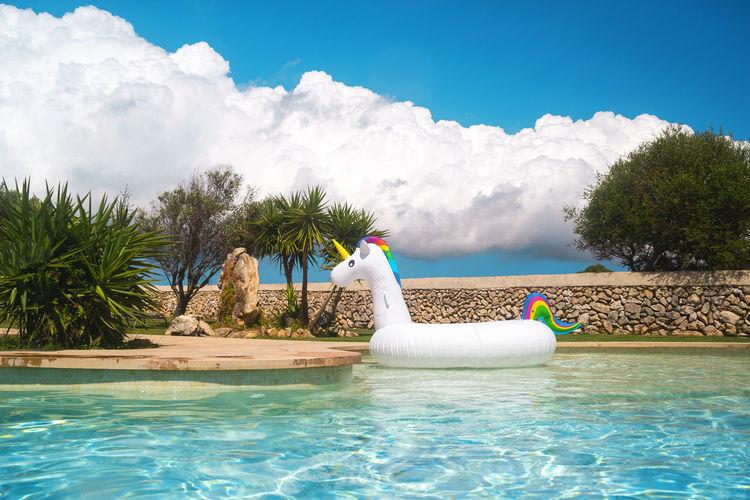 Swimming pool against blue sky