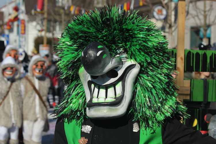Fasnacht 2017 Fasnacht Waggis Switzerland Reinach Tradition Parade Carnival Basel Mask Green