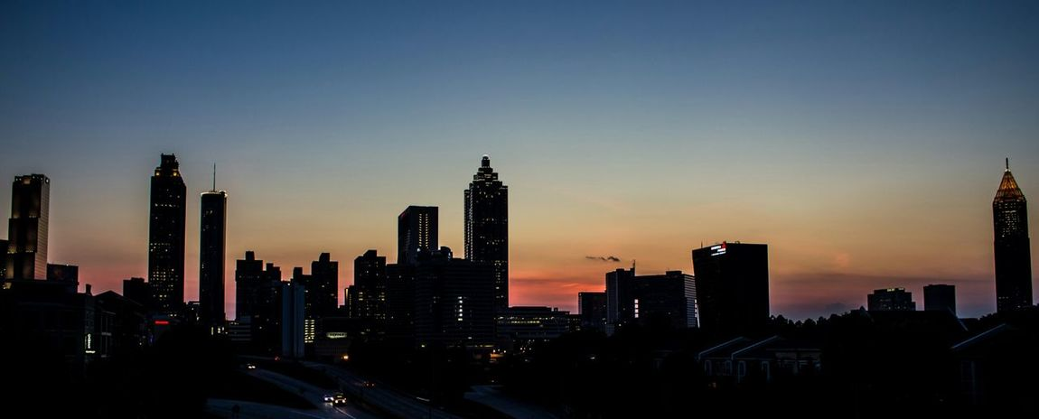 Silhouette of downtown Atlanta Sunset Architecture Skyline Cityscape Silhouette Atlanta Georgia Cityscapes Fine Art Photography