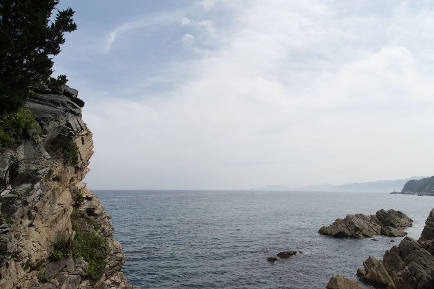 """famous seaside called """"Badabuchaegil"""" at Jeongjdongjin in Gangreung, Gaongwondo, South Korea Badabuchaegil Gangreung Jeongdongjin Beauty In Nature Cliff Day Horizon Over Water Nature No People Outdoors Rock Rock - Object Rock Formation Scenics Sea Seaside Sky Tranquil Scene Tranquility Water"""
