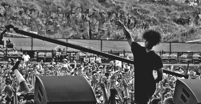 Bw Concert Crowd Fans Festival Festival Season Focus On Foreground Gorge Amphitheater Hands Hip Hop Lifestyles Live Music Live Show Music Musician Outdoors Peace Performance Pumped Rapper Music Brings Us Together Art Is Everywhere EyeEm Diversity