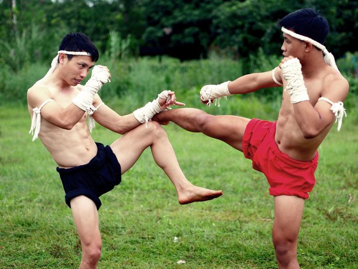 Shirtless male fighters practicing on grass against sky