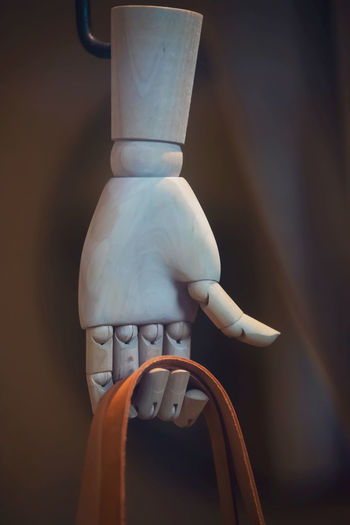 Close-up of wooden hand with bag