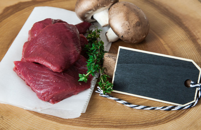 High angle view of food on cutting board