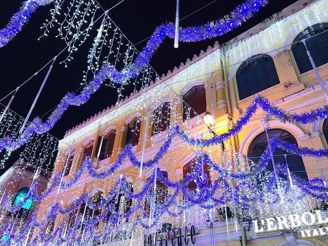 christmas Largo Do Senado Macau Decoration Low Angle View Illuminated Lighting Equipment Night No People Celebration Christmas Lights Christmas Decoration